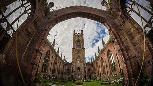 Fisheye View Of St Lukes Church Courtyard HD Desktop Background
