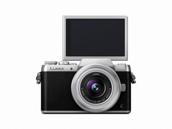 LUMIX DMC-GF7 Silver Front with Silver H-FS12032 Lens LCD